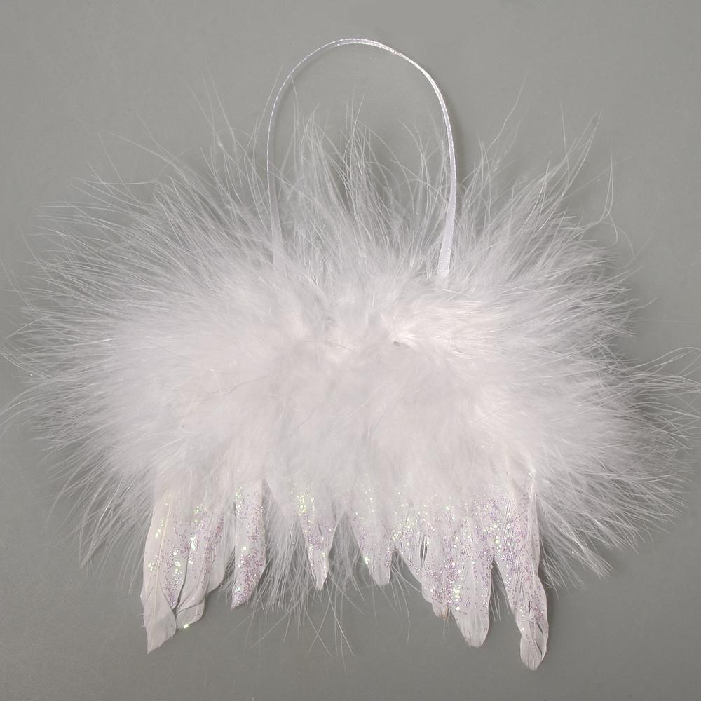 Feder Flügel mit Glitter, 10x10cm, mit Hänger, SB-Btl 1Stück, schneeweiß