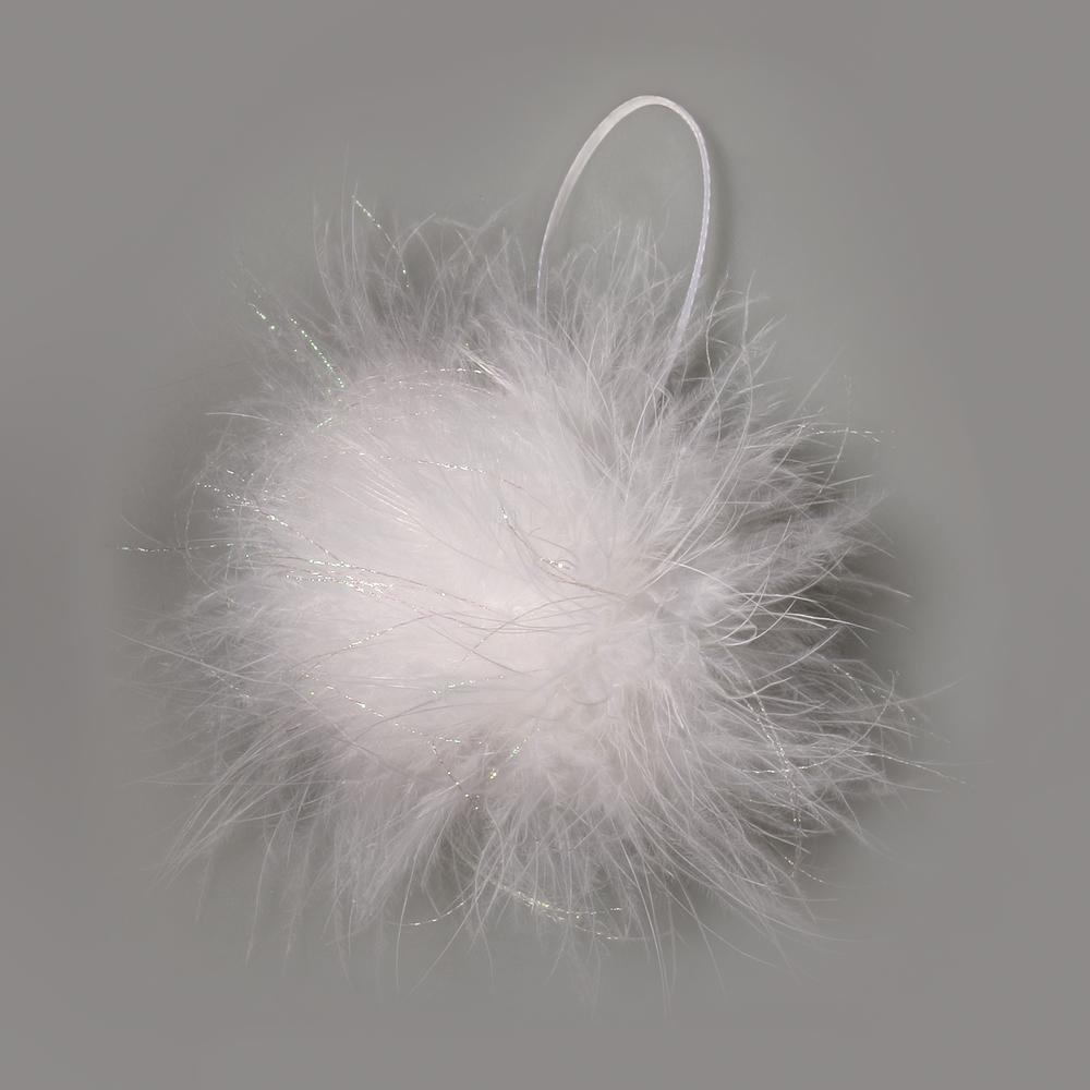 Feder Ball mit Glitter, 3cm ø, mit Hänger, schneeweiß