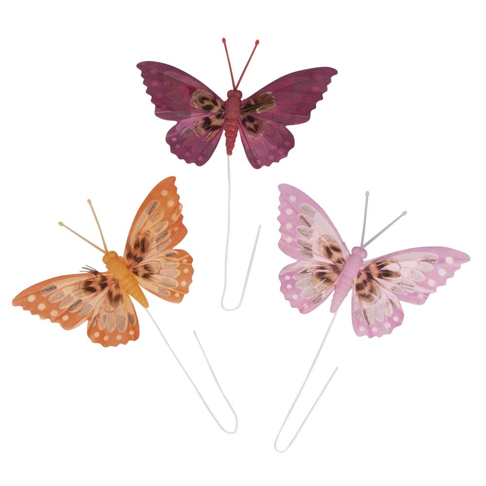 Federschmetterlinge, 10cm, m. Draht, 3 Farben, SB-Btl 3Stück, bunt