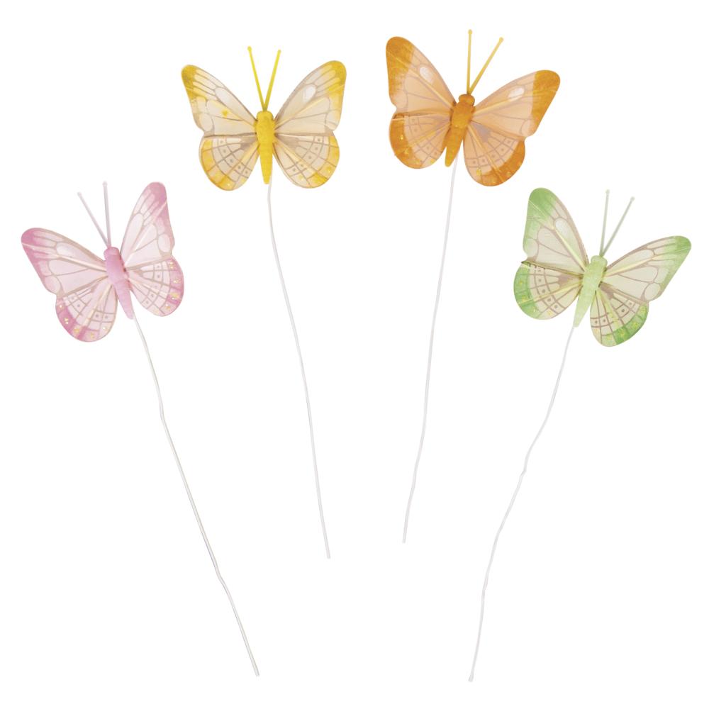 Federschmetterling, 6x5cm, orange,grün,pink,gelb, Box 4Stück, bunt
