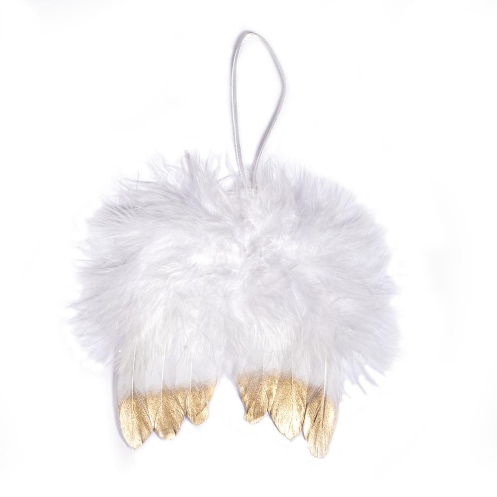 Engelflügel aus Federn, 10cm, zum Hängen, SB-Btl 2Stück, weiß/gold