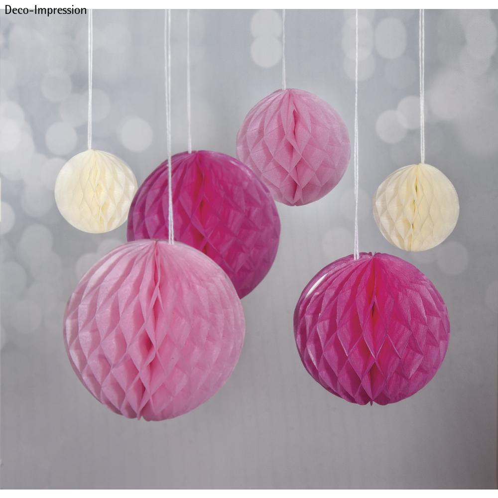 Wabenbälle zum Hängen, 5/8/10cm farbl. sortiert, SB-Btl 6Stück, pink/rosa/beige