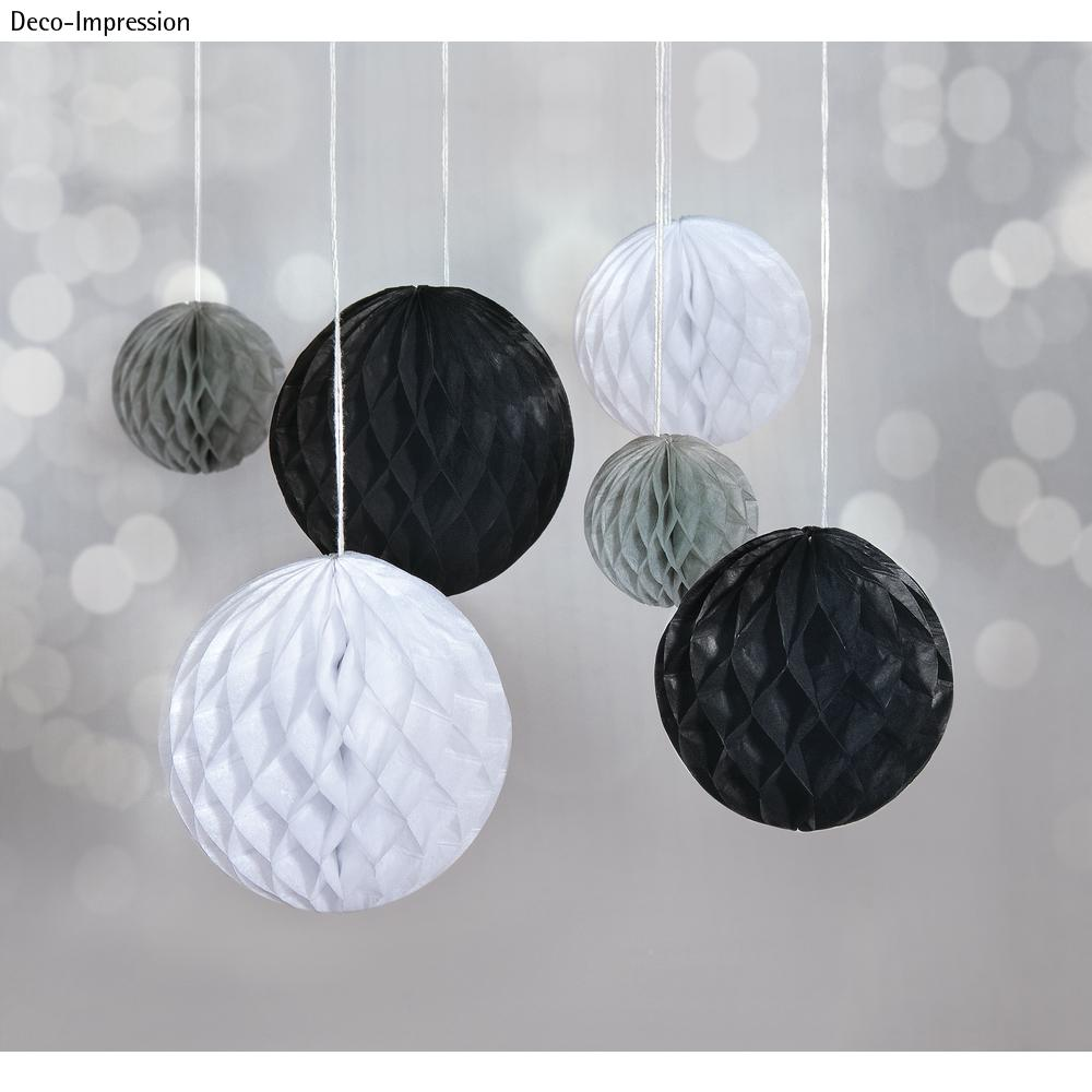 Wabenbälle zum Hängen, 5/8/10cm farbl. sortiert, SB-Btl 6Stück, schwarz/weiß/grau