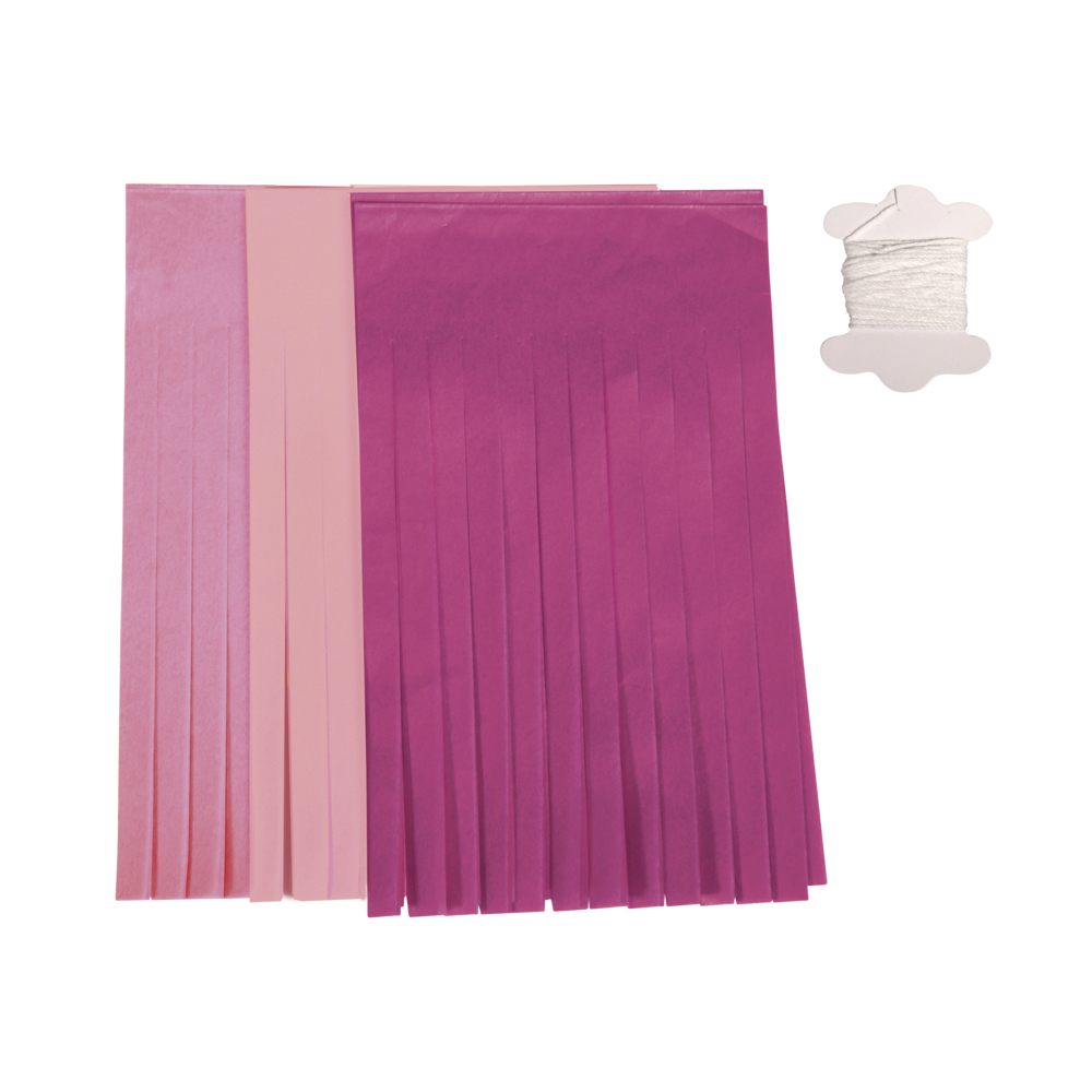 Papier-Quasten-Girlande, 12 Quasten, 20cm, 3m, farblich sort., SB-Btl 1Stück, rosa-Töne