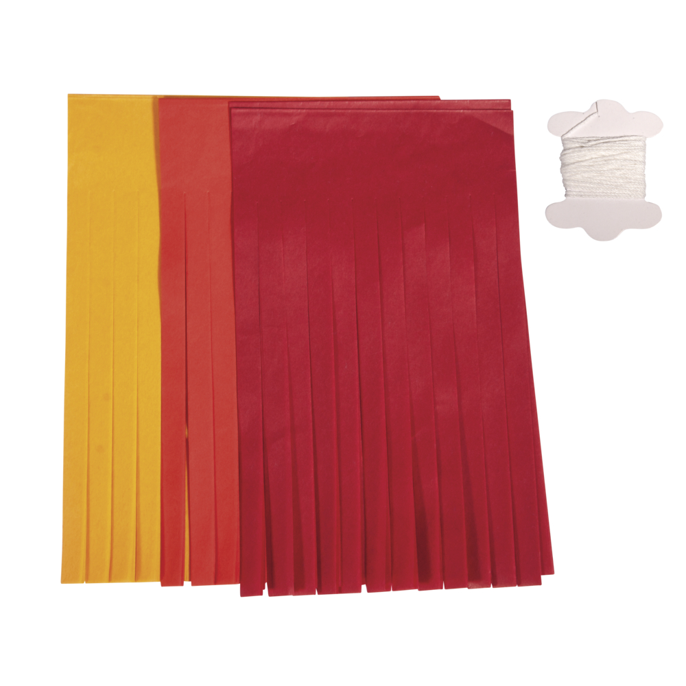Papier-Quasten-Girlande, 12 Quasten, 20cm, 3m, farblich sort., SB-Btl 1Stück, rot/gelb/orange