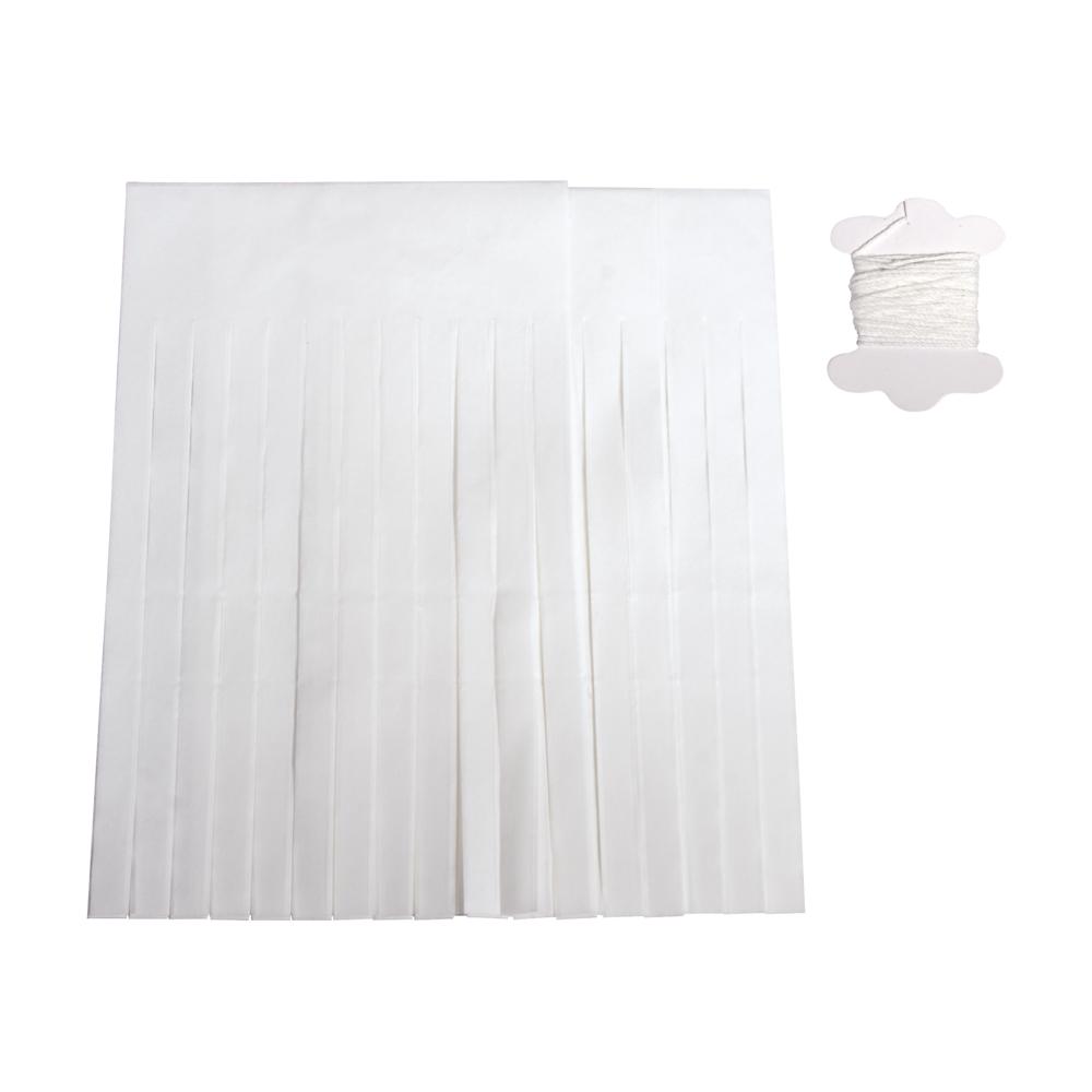 Papier-Quasten-Girlande, 12 Quasten, 20cm, 3m, SB-Btl 1Stück, weiß