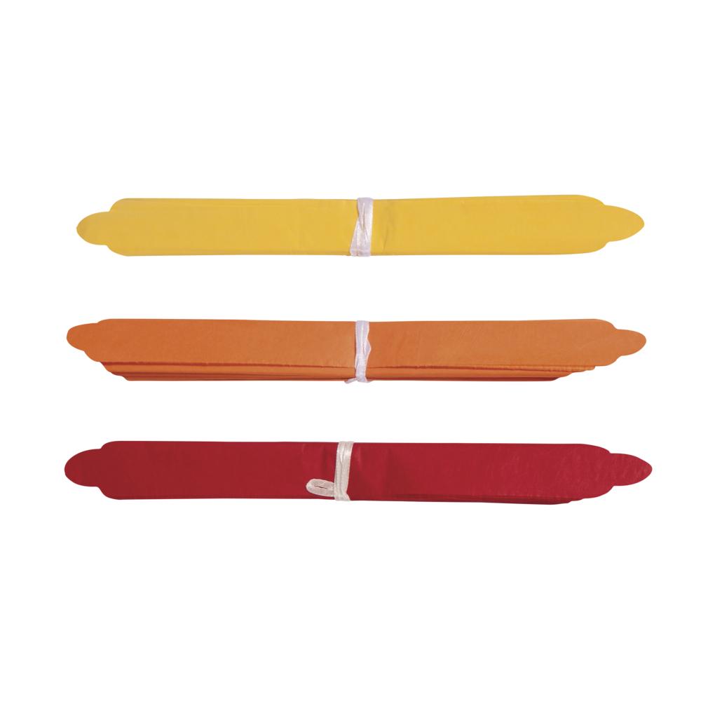 Papier-Pompoms, 35cm ø, farblich sortiert, SB-Btl 3Stück, rot/gelb/orange