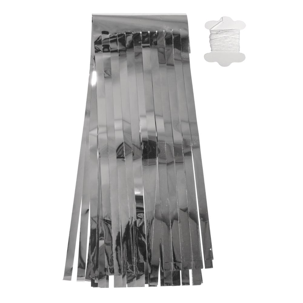 Folien Quasten-Girlande, 35cm, 4m Kordel,12 Quast., SB-Btl 1Stück