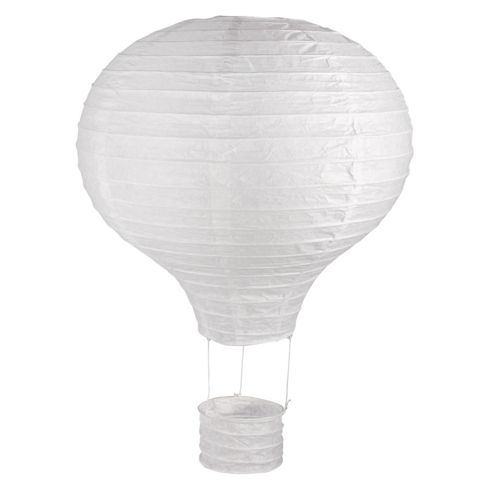 Papierlampion Heißluftballon, 30cm ø, 40cm, m. Metallgestell, Beutel 1Stück, weiß