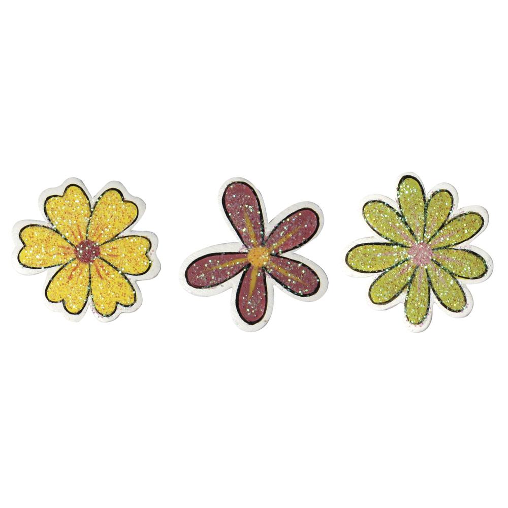 Holzstreuteile: Glitterblüten, 2,5 cm, SB-Btl. 9 St., 3 Sorten