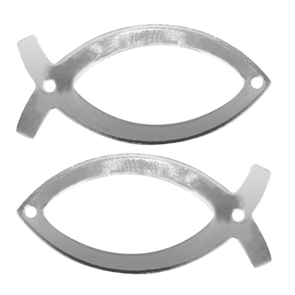 Metall- Fisch, 4x2cm, 2 Löcher 1,5mm ø, SB-Btl 2Stück