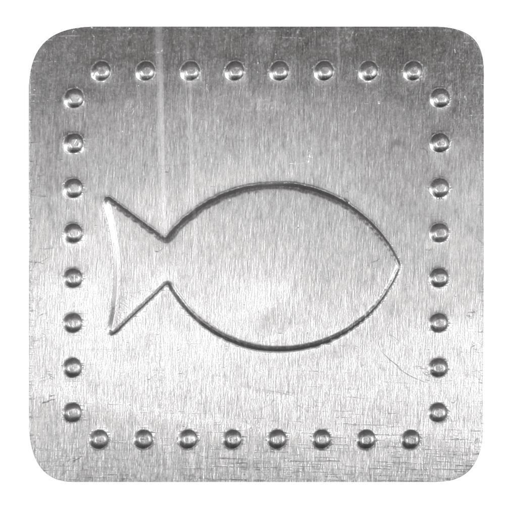Metall Plättchen: Fisch, m. Klebepunkt, 4x4cm, SB-Btl 8Stück